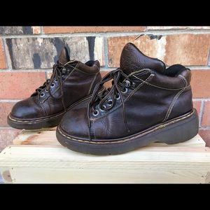 Vtg dr martens boots brown leather lace up